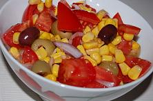 Tomato Salad with Sweet Corn and Olives