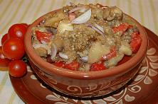 Eggplant Salad with Tomatoes and Onions
