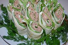 Crepes Rolls with Tuna and Lettuce