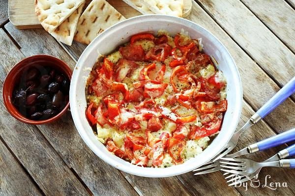 Greek Bouyourdi - Baked Cheese with Peppers and Tomatoes