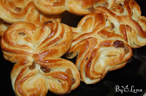 Butterfly and Hearts Shaped Sweet Buns with Raisins