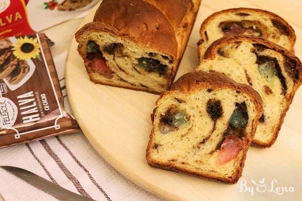 Vegan Sweet Bread with Halva and Turkish Delight