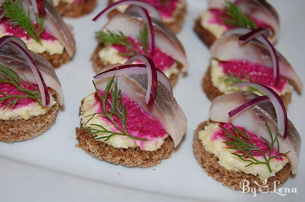 Pickled Herring Canapes with Beet