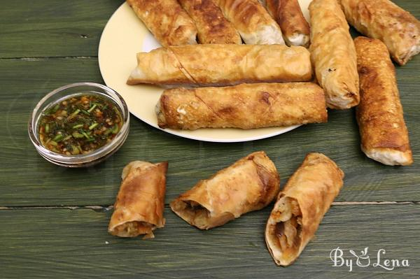 Chinese Spring Rolls With Shrimp and Vegetables