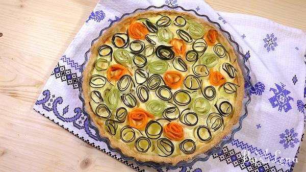 Zucchini Carrot Rose Tart